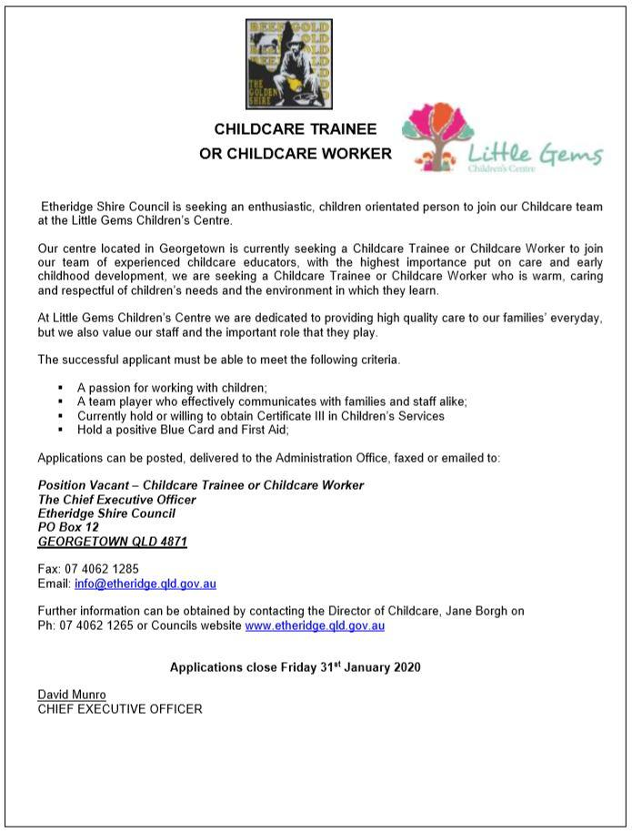 childcare worker / trainee position vacant
