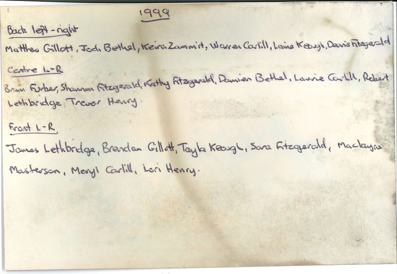 Back of photo from Georgetown Hostel time capsule buried 16th March 1999, showing name of students
